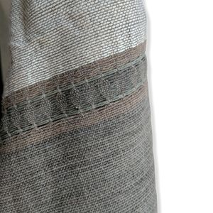 Hand Woven fringed scarf shawl | Tan charcoal NWOT